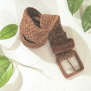 Brown Braided Genuine suede leather belt size s C7